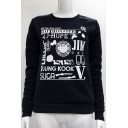 Letter Gun Printed Round Neck Long Sleeve Sweatshirt