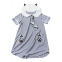 Paws Printed Short Sleeve Navy Collar Short Sleeve Mini A-Line Dress