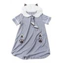 Paws Printed Short Sleeve Navy Collar Short Sleeve Mini A-Line Dress