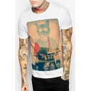 Cat's Head Character Printed Round Neck Short Sleeve Tee