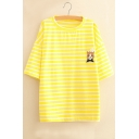Cat Embroidered Round Neck Short Sleeve Striped Tee