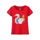 Squirrel Printed Round Neck Short Sleeve Tee