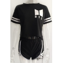 Letter Contrast Striped Printed Round Neck Short Sleeve Crop Top with Contrast Trim Shorts Co-ords