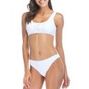Zipper Front Sleeveless Crop Tank Plain Bikini