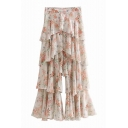 Floral Printed Laminated Frill Hem Wide Leg Pants
