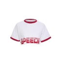 SPEEDS Letter Contrast Trim Round Neck Short Sleeve Crop Tee