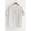 Heart Embroidered Stripes Round Neck Short Sleeve Tee