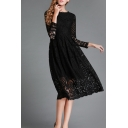 Elegant Round Neck Long Sleeve Plain Midi A-Line Lace Dress
