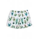 Classic Quick Drying Mens White Cactus Plant Print Swim Trunks with Mesh Brief Liner