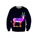 Colorful Deer Pattern Leisure Unisex Pullover Sweatshirt