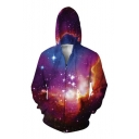 Starry Sky Pattern Zipper Long Sleeve Hoodie