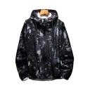 Fashion Printed Long Sleeve Zip Up Hooded Coat