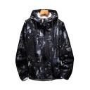 Fashion Printed Long Sleeve Zip Up Hooded Coat