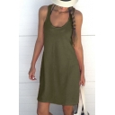 Plain Round Neck Sleeveless Mini Cami Dress