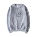 TEA SHIRT Letter Printed Round Neck Long Sleeve Sweatshirt