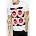 Mouth Letter Printed Round Neck Short Sleeve Tee
