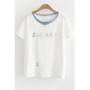 Embroidered Panel Round Neck Short Sleeve Tee
