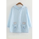 Cat and Fish Embroidered Single Breasted Button Hooded Half Sleeve Drawstring Hem Coat