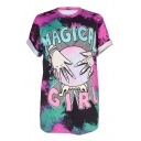 MAGICAL GIRL Letter Hand Printed Round Neck Short Sleeve Tee