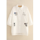Cute Cat Embroidered Lapel Collar 3/4 Length Sleeve Buttons Down Shirt