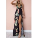 Plunge Neck Spaghetti Straps Sleeveless Floral Printed Open Back Split Front Maxi Cami Dress