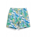 Elastic Green Floral Tropical Popular Bird Toucan Bathing Trunks Men with Mesh Lined Pockets