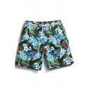 Awesome Fast Dry Men's Navy Blue Floral Tropical Print Swimming Shorts with Mesh Brief Liner