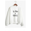 K-POP Letter Printed High Neck Long Sleeve Sweatshirt