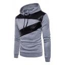 PU Patchwork Zipper Embellished Long Sleeve Slim Hoodie