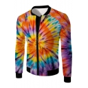 Color Block Printed Stand Up Collar Long Sleeve Zip Up Jacket