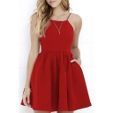 Chic Plain Spaghetti Straps Sleeveless Hollow Out Back Mini A-Line Dress