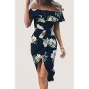 Floral Printed Off The Shoulder Short Sleeve Midi Asymmetric Dress