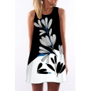 Color Block Leaves Printed Round Neck Sleeveless Mini A-Line Dress
