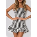 Striped Printed Spaghetti Straps Ruffle Hem Detail Mini Cami Dress