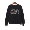 ABCDRFG Letter Printed Round Neck Long Sleeve Sweatshirt