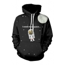 I NEED MORE SPACE Astronaut Printed Long Sleeve Hoodie