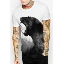Panther Printed Round Neck Short Sleeve Tee
