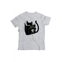 Book Cat Printed Round Neck Short Sleeve Tee