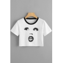 Contrast Round Neck Woman's Face Printed Round Neck Short Sleeve Crop Tee