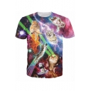 Galaxy and Cat Printed Round Neck Short Sleeve Tee