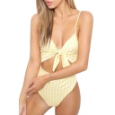 Plaid Printed Spaghetti Straps Tied Front Hollow Out One Piece Swimwear