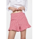 Plaid Printed Ruffle Detail Zipper Fly Shorts