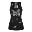 3D Cat Printed Round Neck Sleeveless Hollow Out Back Tank