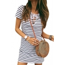 V Neck Lace Up Front Short Sleeve Striped Printed Mini A-Line Dress