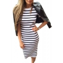 Round Neck Short Sleeve Striped Printed Maxi T-Shirt Dress