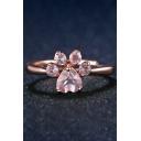 Cute Diamond Paw Resizable Ring
