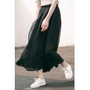 Elastic Waist Chiffon Plain Maxi Asymmetric Skirt