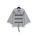 Cat Printed Tail Embellished Long Sleeve Hoodie