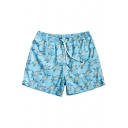 Mens Bright Blue Summer Turtle Print Swim Shorts Trunks with Brief Liner