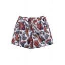 Unique Quick Drying Men's White Floral Tropical Print Swim Trunks with Hook and Loop Pockets